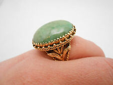 Gorgeous Antique 14K Yellow Gold Natural Green Jade Large Cocktail Ring Size 5.5