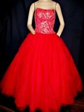"RED NET BEADED STRAPLESS LONG VERY FULL PROM HOLIDAY  DRESS BY EXCITE-32"" BUST"