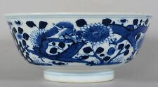 Antique Chinese Qing Porcelain Blue & White Dragon & Flower Bowl