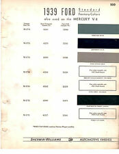 1938 1939 FORD MERCURY DELUXE TUDOR FORDOR STANDARD PAINT CHIPS SHERWIN WILLIAMS