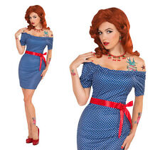 Ladies Betty Blue Outfit Rock N Roll Fancy Dress Costume 50s 60s Pin Up UK 10-14
