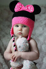 Baby Girl Winter Warm Mouse Bowknot Beanie Crochet Knitted Earflap Hat 0-12M