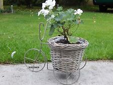 GREY METAL TRICYCLE PLANTER WILLOW PLANT POT BASKET DISPLAY TRIKE CHIC NEW