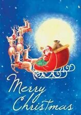 "Moonlight Santa Merry Christmas Garden Flag Holiday Yard Banner 12.5"" x 18"""