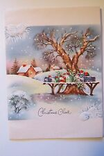 VINTAGE 1940s SNOW COUNTRY MAILBOXES SIGNED LITHO CHRISTMAS