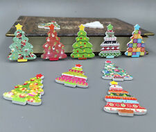Assorted Christmas Tree Wooden Buttons Scrapbooking Sewing Decorative 35mm