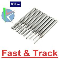 Drillpro 10pcs 0.8-3mm Carbide PCB Drill Bits Engraving Milling Cutter for CNC