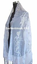 Elegant Oblong Lace Floral Art Scarf Wrap w/ Sequin White/Silver 3