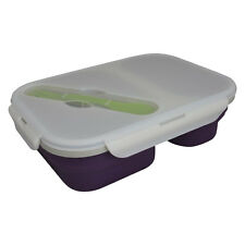 Eco Vessel Collapsible Leak-Proof Lunch Box Food Container & Spork 6 Cup, Purple