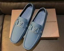 NIB New Louis Vuitton LV Logo Blue Leather Oxford Loafers 9.5 Moccasins Shoes