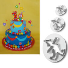 3 xmas Clown Cutter Mold Sugarcraft Fondant biscuit Cake Decorating Pasty tools