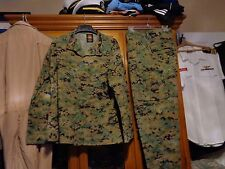 USMC MARPAT Uniform WOODLAND Combat Shirt & Pants in size LARGE SHORT  LS  USED