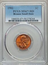 1982 LINCOLN CENT PENNY BRONZE SMALL DATE PCGS MS67+ RD, POP (7/1), PG = $5,000!