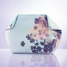 Avon Poetic Cosmetic Bag Makeup Case Adjustable Blue Satin Zipper Popper RRP £10