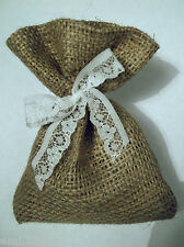 WEDDING FAVOUR BAGS. HESSIAN AND LACE.