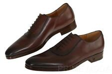 NEW GUCCI MEN'S LOGO BROWN LEATHER LACE-UP OXFORD DRESS CASUAL SHOES 8/US 8.5