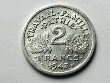 1943 (Nazi-Occupied Vichy) France 2 FRANCS Aluminum Coin EF+ with Some Lustre
