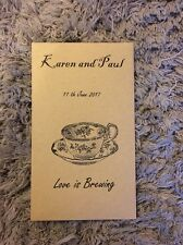 50x Personalised Wedding Favours Tea Bag Love Is Brewing Bride And Groom Vintage
