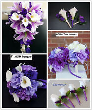 26pc Wedding Package- Purple Lavender White Silk Flower Arrangement