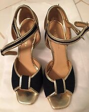 Authentic Anteprima Sporty Canvas Heel Shoes, Size 8 / 38, Gold/Dark Blue
