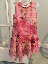 CachCach Girls Sleeveless Dress w Shrug Size 6 Floral Easter