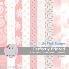 18 Patterned Paper Sq 140mm -Perfectly Printed Craft Paper - Just a Little Pink