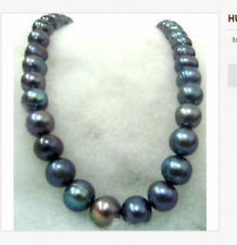 RARE TAHITIAN 12-13MMSOUTH SEA BLACK RED BLUE PEARL NECKLACE 18inch 14k
