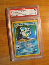 NM PSA-8 Pokemon BLASTOISE Card BASE Set 2/102 No Stage ERROR/MISPRINT Holo Rare