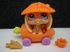 LITTLEST PET SHOP CUTE ORANGE LOP EAR BUNNY #480 HAT CARROT CAR ACCESSORIES