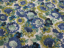 Blue & Turquoise Vibrant Daisy Flowers, Floral Printed Polycotton Fabric