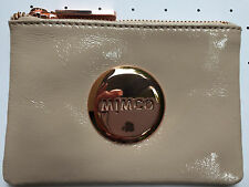 Mimco Pancake beige small pouch clutch wallet purse patent leather Authentic new