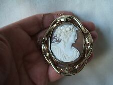 Very Good Antique Victorian Large Size Rolled Gold Carved Shell Cameo Brooch