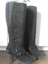 Womens M&S AUTOGRAPH black suede leather knee length buckle boots size UK 4.5
