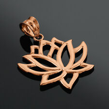 10k Rose Gold Lotus Flower Pendant Buddhist