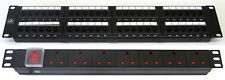 "Cat6 19"" 48 Port Patch Panel + 7 Way Power Unit Comms Rack Data Network Cabinet"