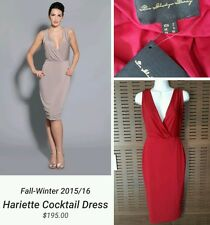 Pia Gladys Perey Hariette plunging Holiday Bridesmaid Jersey Dress in Wine Sz 2
