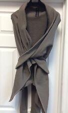 Rick Owens DRKSHDW Dust Gray Cotton Top Vest Jacket Asymmetrical Wrap Sz S Fit M