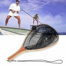 Fly Fishing Landing Nylon Net Mesh Trout Catch and Release Net & Wooden Handle