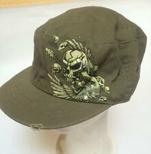 Winged Flying Skulls w Guitar Army Green Distressed Cap Hat Velcro Adjustable