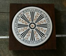 "Vintage Mid Century Modern Hardwood and Tile Trivet 7x7"" Ornate Gold Leaf Japan"