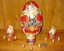 Russian nesting 13 Korobeiniki PYROGRAPHY RED GOLD EGG dolls matryoshka MAMAYEVA