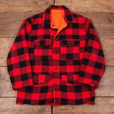 "Mens Vintage Red Black Reversible Plaid Lumberjack CPO Shirt Size M 38"" R3211"