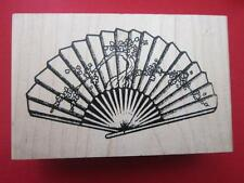 Japanese Hand Held Fan-  Rubber Stamp Safire Designe