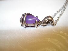 """Sterling Silver 925 AVON Wrapped Lavender Chalcedony Pendant 835 Silver Chain15"""""""