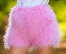 LIGHT PINK Hand Knitted Mohair Underwear Fuzzy Pants Soft Handmade Shorts S M L