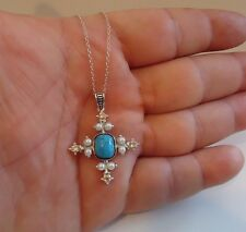 925 STERLING SILVER SQUARE CROSS NECKLACE PENDANT W/  TURQUOISE/DIAMOND/PEARL