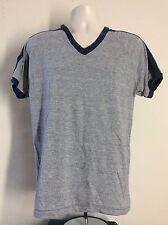 Vtg 80s Bantams Tri-Blend Ringer V-Neck T-Shirt Heather Gray L Stripes Blank