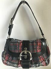Authentic COACH Soho Pleated Red & Black Plaid Tartan Purse Shoulder Bag F15485