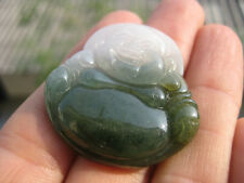 Natural Jade Happy Buddha Pendant Amulet stone stone  carving jewlery  A35