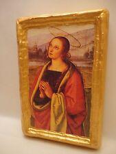 Saint Mary Magdalene Roman Catholic  Icon on Aged Wood Plaque